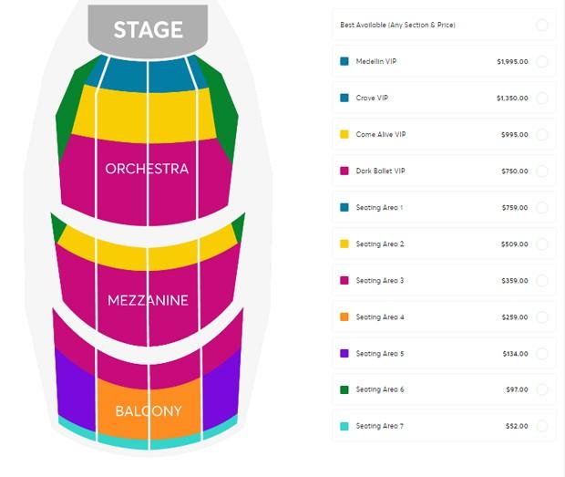 Preços dos ingressos de Madonna (Foto: Reprodução/Ticketmaster)