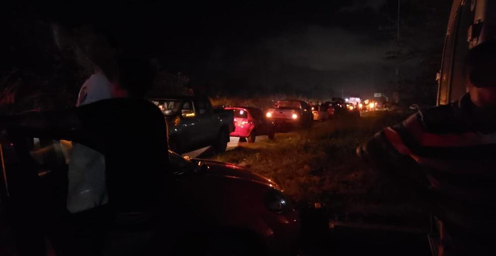Trânsito parado na BR-316 por conta do atropelamento e morte de uma pessoa — Foto: Divulgação / PRF
