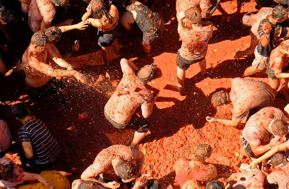 Festa do tomate na Espanha em 2019 — Foto: Heino Kalis/Reuers
