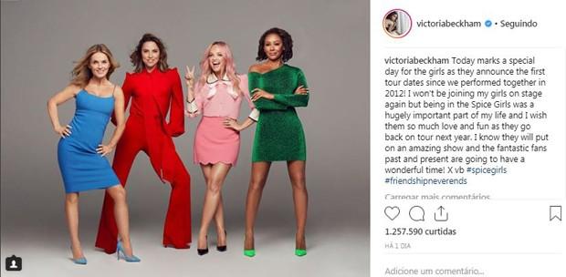 Victoria Beckham não estará na turnê das Spice Girls, mas deseja sorte às cantoras (Foto: Reprodução / Instagram)