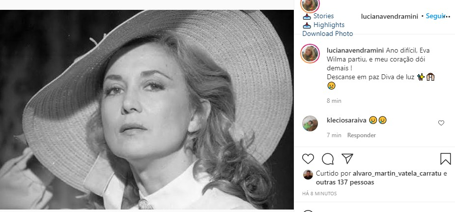Luciana Vendramini se despede de Eva Wilma (Foto: Reprodução Instagram)