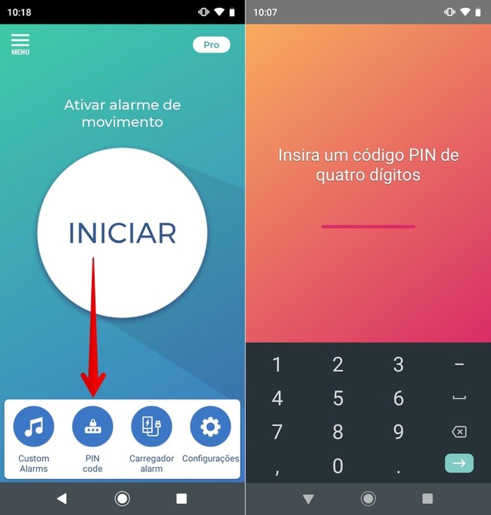 Configurando senha de proteção no app Não toque em meu telefone — Foto: Reprodução/Helito Beggiora