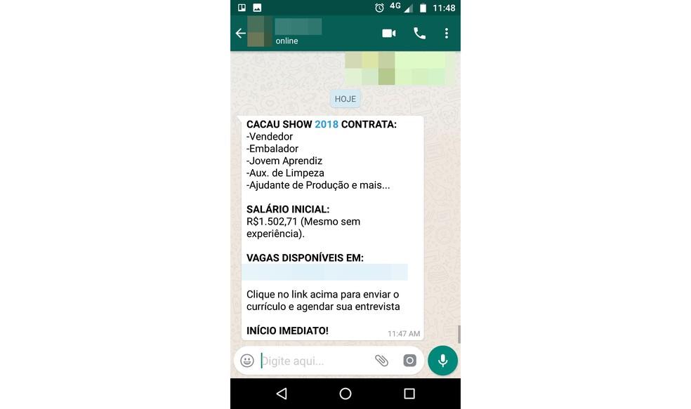 Golpe oferece falsas vagas operacionais na Cacau Show para roubar dados de usuários (Foto: Reprodução/Bruno Soares)