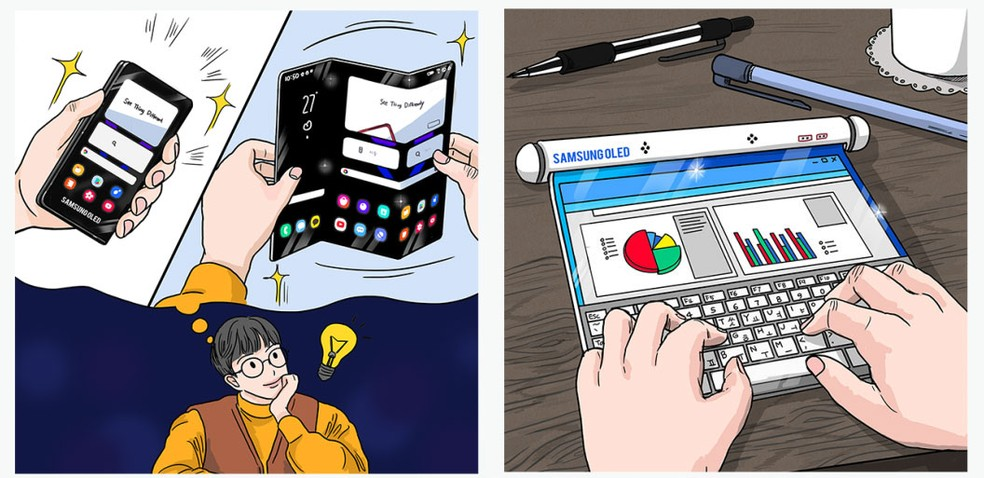 Conceitos da Samsung mostram celular dobrável em Z e aparelho com tela enrolável — Foto: Divulgação/Samsung