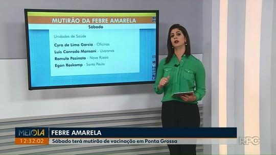 Cerca de 80 mil pessoas ainda precisam tomar vacina contra febre amarela em Ponta Grossa