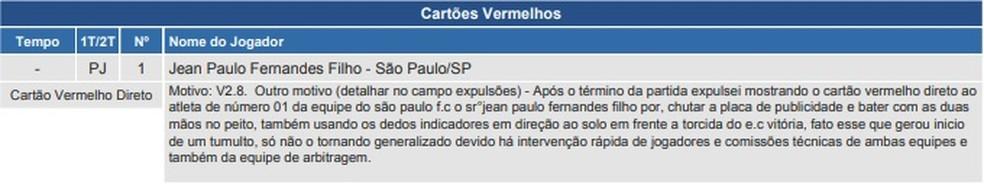 Súmula da partida entre Vitória e São Paulo — Foto: Reprodução