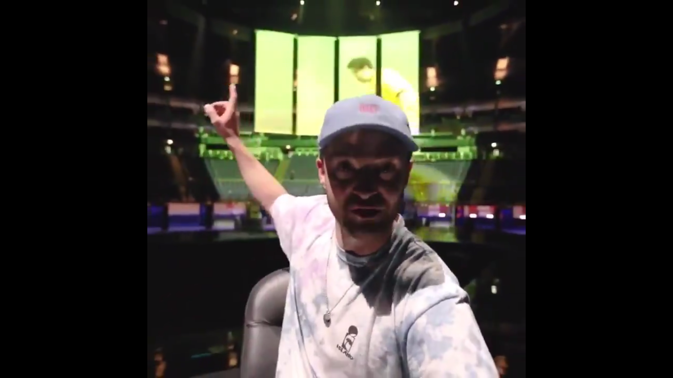 A promessa de Justin Timberlake em exibir a partida entre Croácia e Inglaterra em seu show (Foto: Twitter)