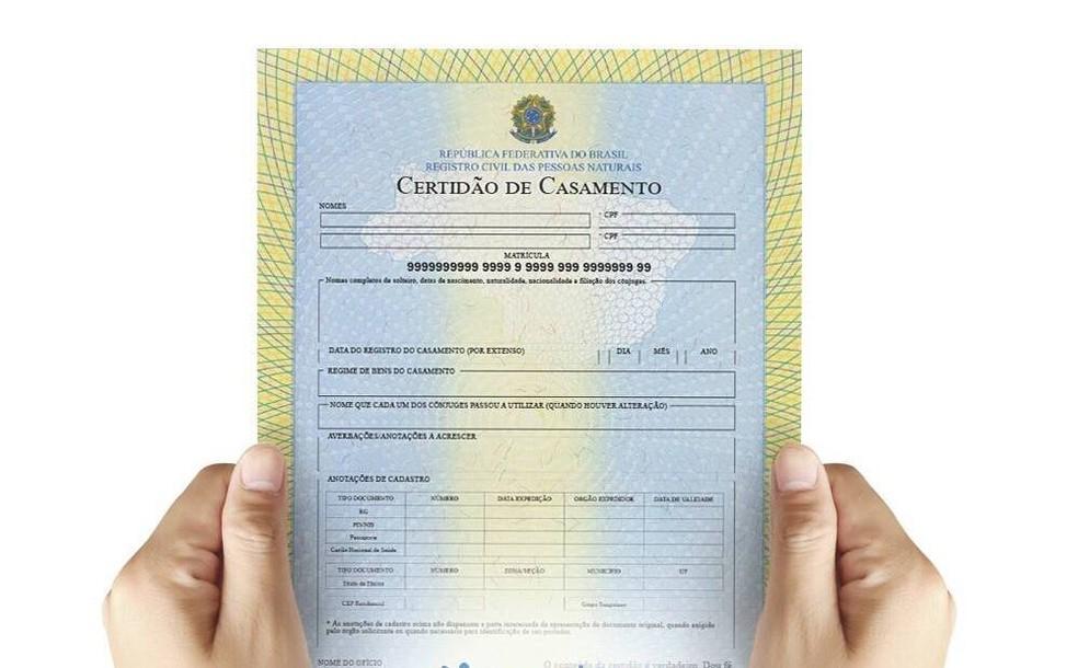 Certidão de casamento pode ser obtida no site Registro Civil — Foto: Divulgação/Registro Civil