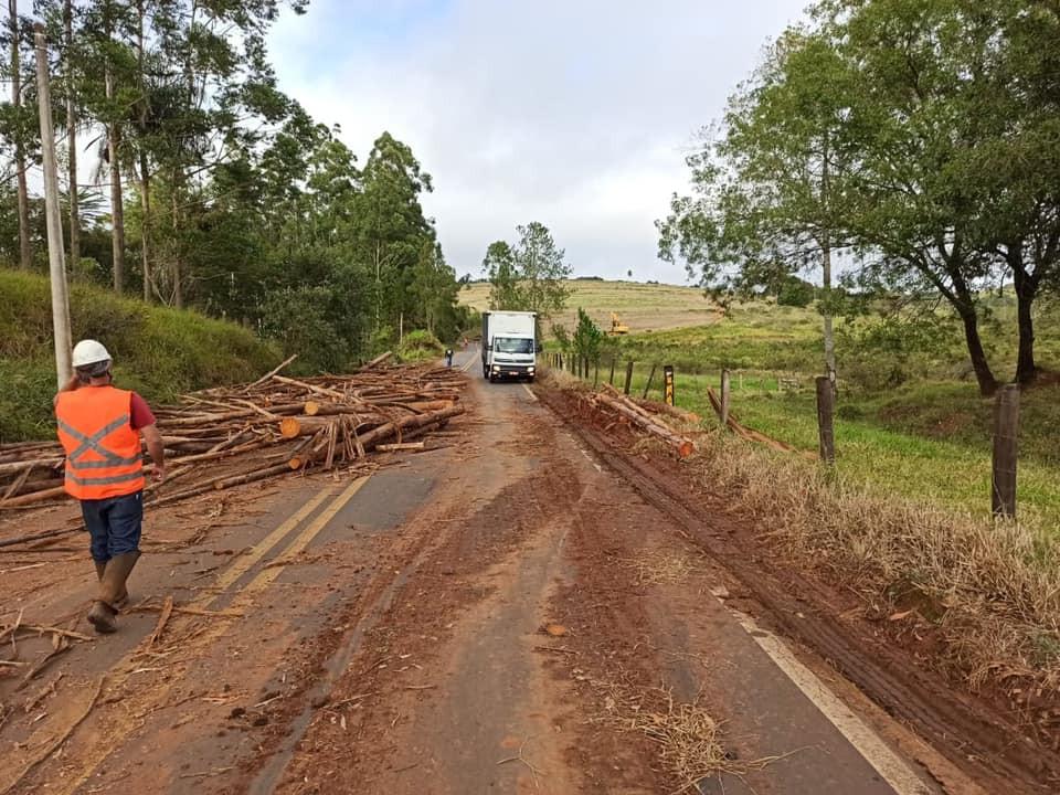 Carreta tomba e derruba toras de madeira em vicinal de Itatinga
