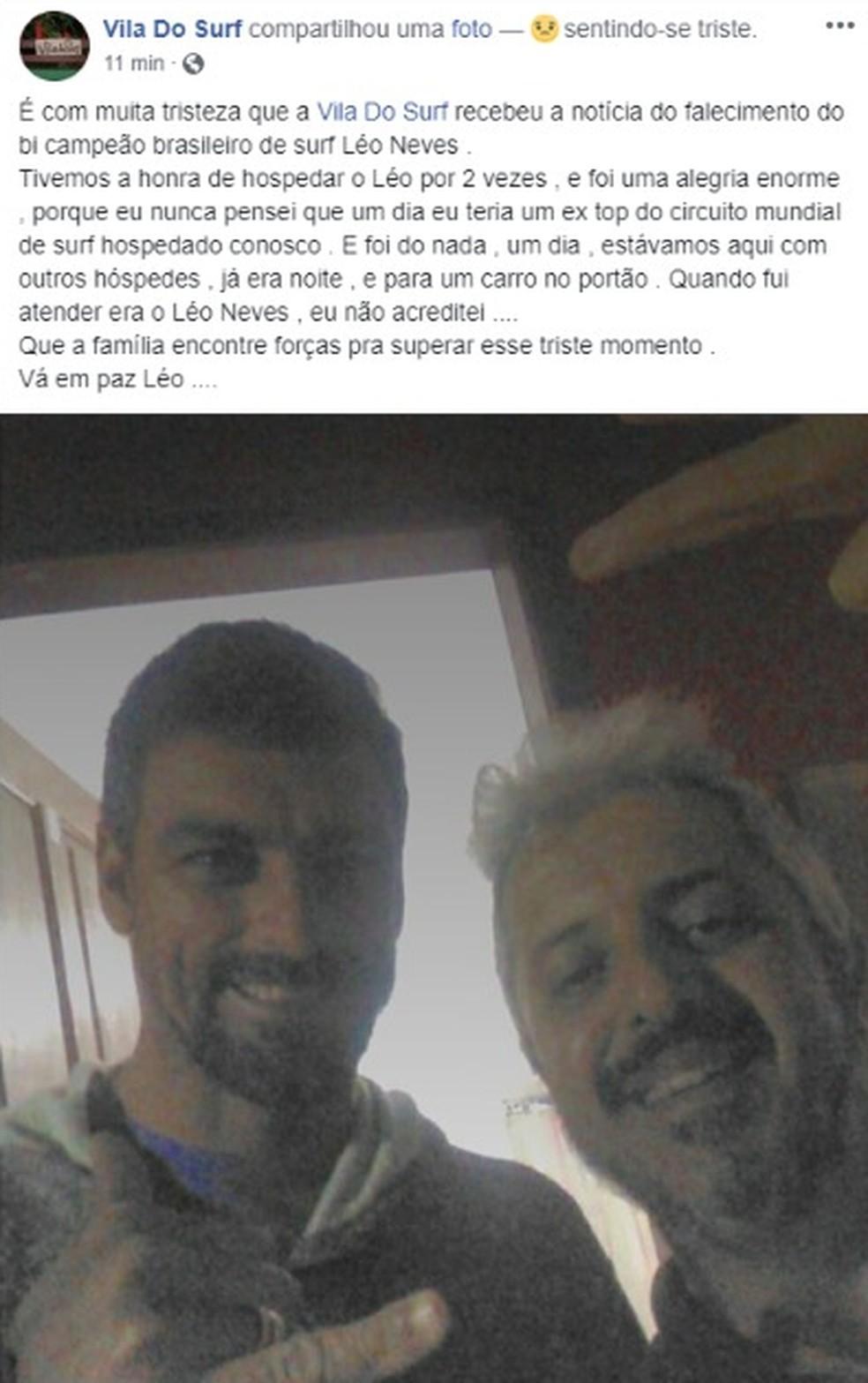 Fãs e esportistas lamentam a morte de Leo Neves e prestam homenagens ao ídolo nas redes sociais — Foto: Reprodução/Facebook