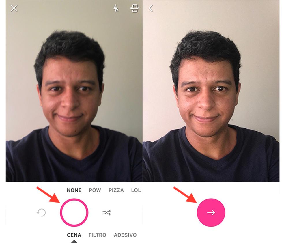 Ação para fazer uma selfie com o app PicsArt (Foto: Reprodução/Marvin Costa)
