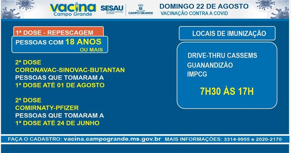 Calendário de vacinação contra a Covid-19 em Campo Grande (MS) neste domingo — Foto: Reprodução/PMCG