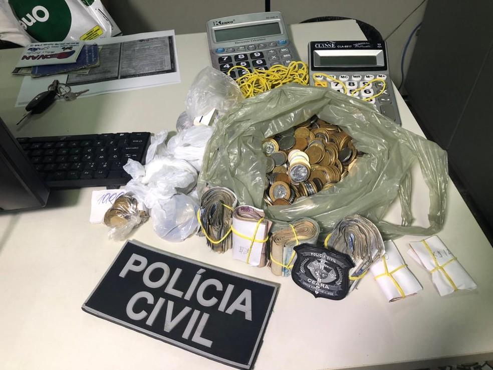 Material apreendido em centrais de jogo do bicho em Sobral — Foto: Polícia/ Divulgação