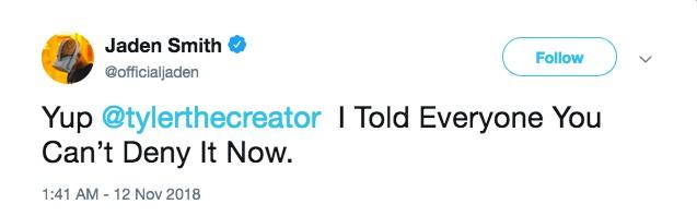 O tuíte de Jaden Smith falando sobre seu namoro com o rapper Tyler, The Creator (Foto: Twitter)