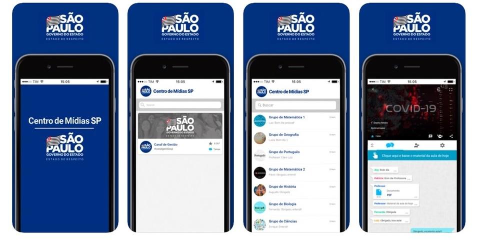 Interface do aplicativo da Secretaria de Educação de SP para as aulas online dos alunos da rede estadual. — Foto: Reprodução