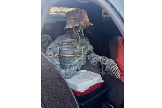 Esqueleto no Banco do Passageiro Carro Estados Unidos (Foto: Divulgação/Departamento de Segurança Pública do Arizona)