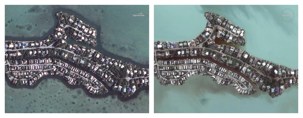 Imagens de satélite mostram Key West, uma das cidades de Florida Keys, em janeiro (à esquerda), e na segunda feira (11) (Foto: Digital Globe Via AP)