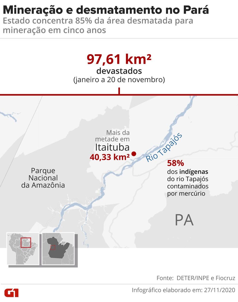 Desmatamento causado por mineração no Pará em 2020. — Foto: Arte/G1