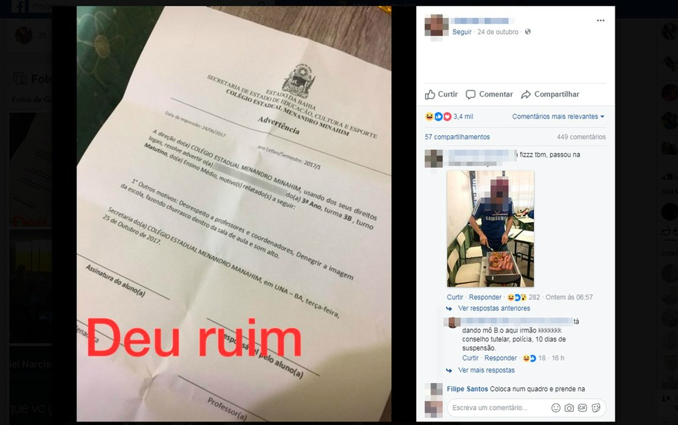 Um dos estudantes ainda postou foto de um documento falsificado, segundo colégio (Foto: Reprodução/Facebook)