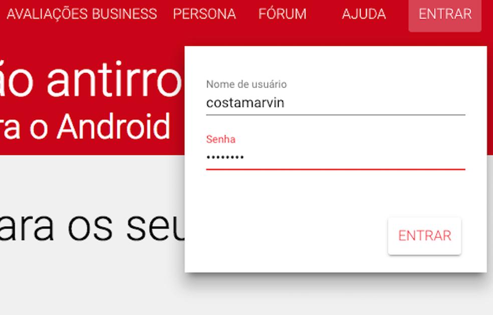 Opção para login no Cerberus na web (Foto: Reprodução/Marvin Costa)