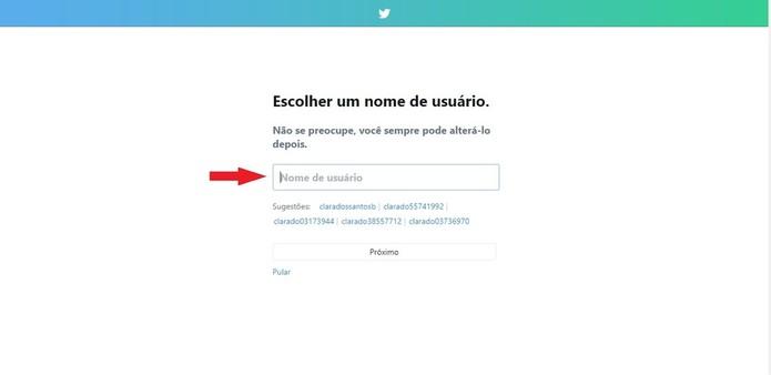 O nome de usuário escolhido não pode existir, por isso o Twitter sugere algumas opções (Foto: Reprodução/Clara Barreto)