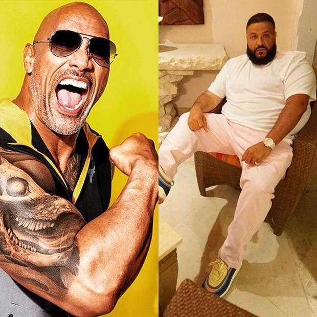 """Dwayne """"The Rock"""" Johnson e DJ Khaled (Foto: Divulgação e Reprodução/Instagram)"""