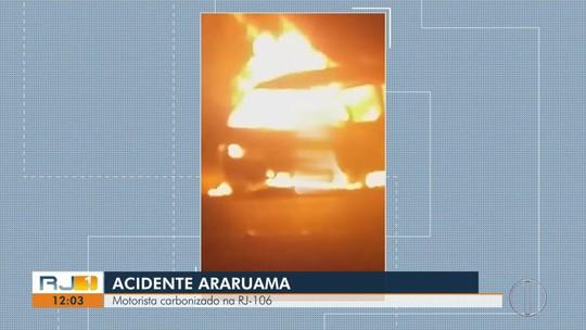 Van explode após colisão com carro e motorista é carbonizado no RJ