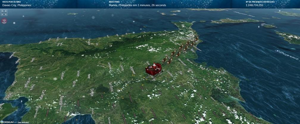Por volta do meio dia de terça (24), o Papai Noel sobrevoava as Filipinas — Foto: Reprodução/Norad