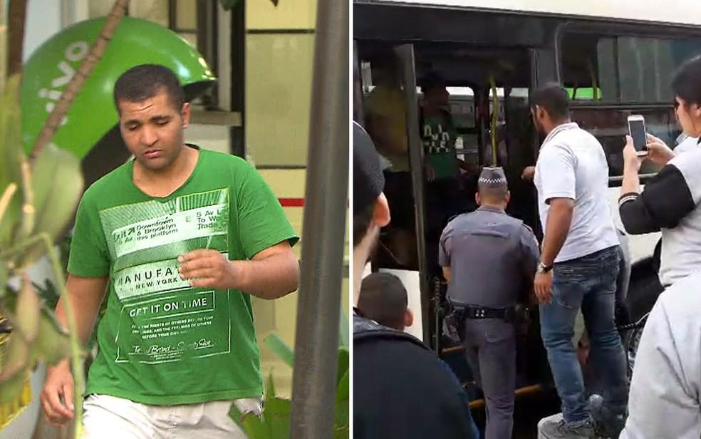 Montagem mostra homem que ejaculou em mulher deixando delegacia e o momento em que ele ficou preso dentro do ônibus (Foto: TV Globo/Reprodução)