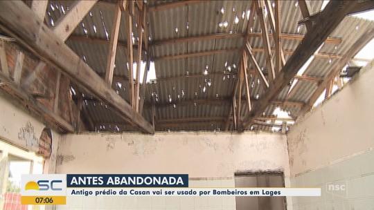 Espaço abandonado do prédio da Casan de Lages será utilizado pelo Corpo de Bombeiros