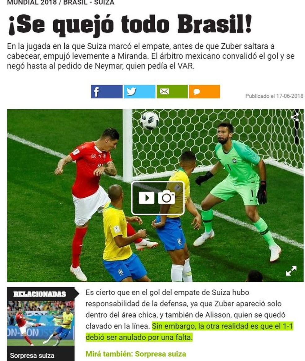 Olé reclamação Brasil (Foto: Reprodução)