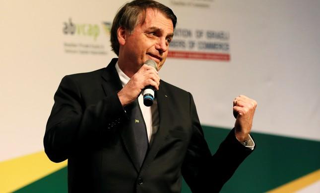 Presidente Jair Bolsonaro em encontro com empresários brasileiros e israelenses em Jerusalém