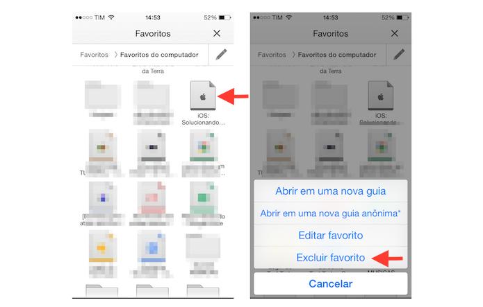 Excluindo um favorito do Google Chrome no iOS (Foto: Reprodução/Marvin Costa)