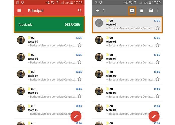 Selecione os e-mails para arquivar no app do Gmail para Android (Foto: Reprodução/Barbara Mannara)