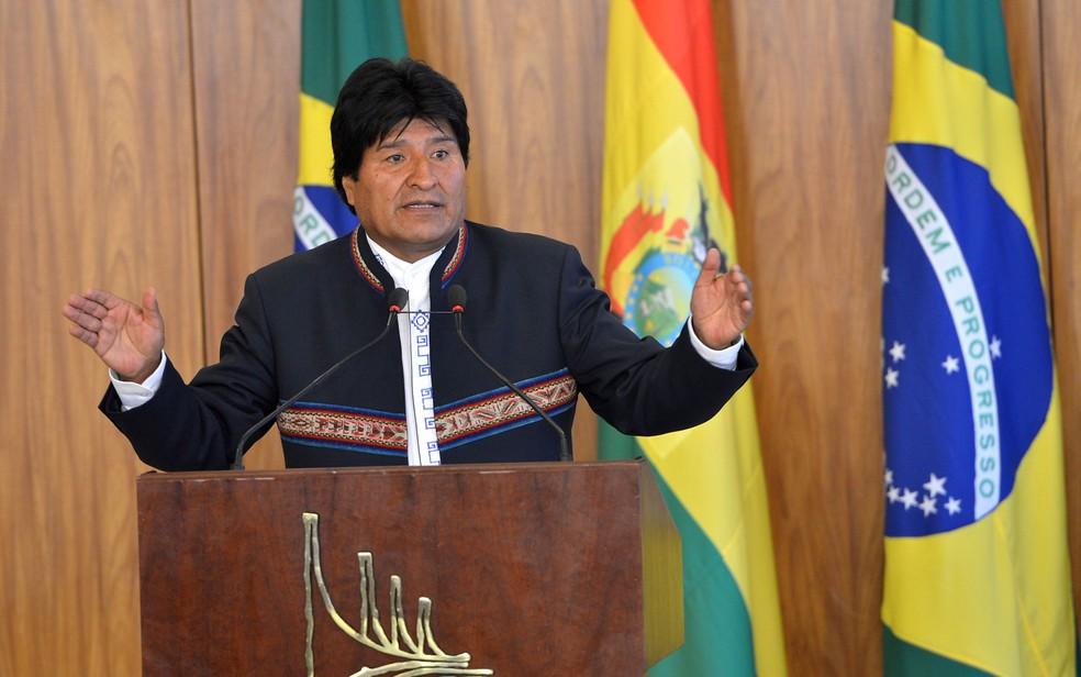 O presidente boliviano Evo Morales, no Palácio do Planalto, durante visita ao Brasil em fevereiro de 2016 (Foto: Antônio Cruz/ Agência Brasil)
