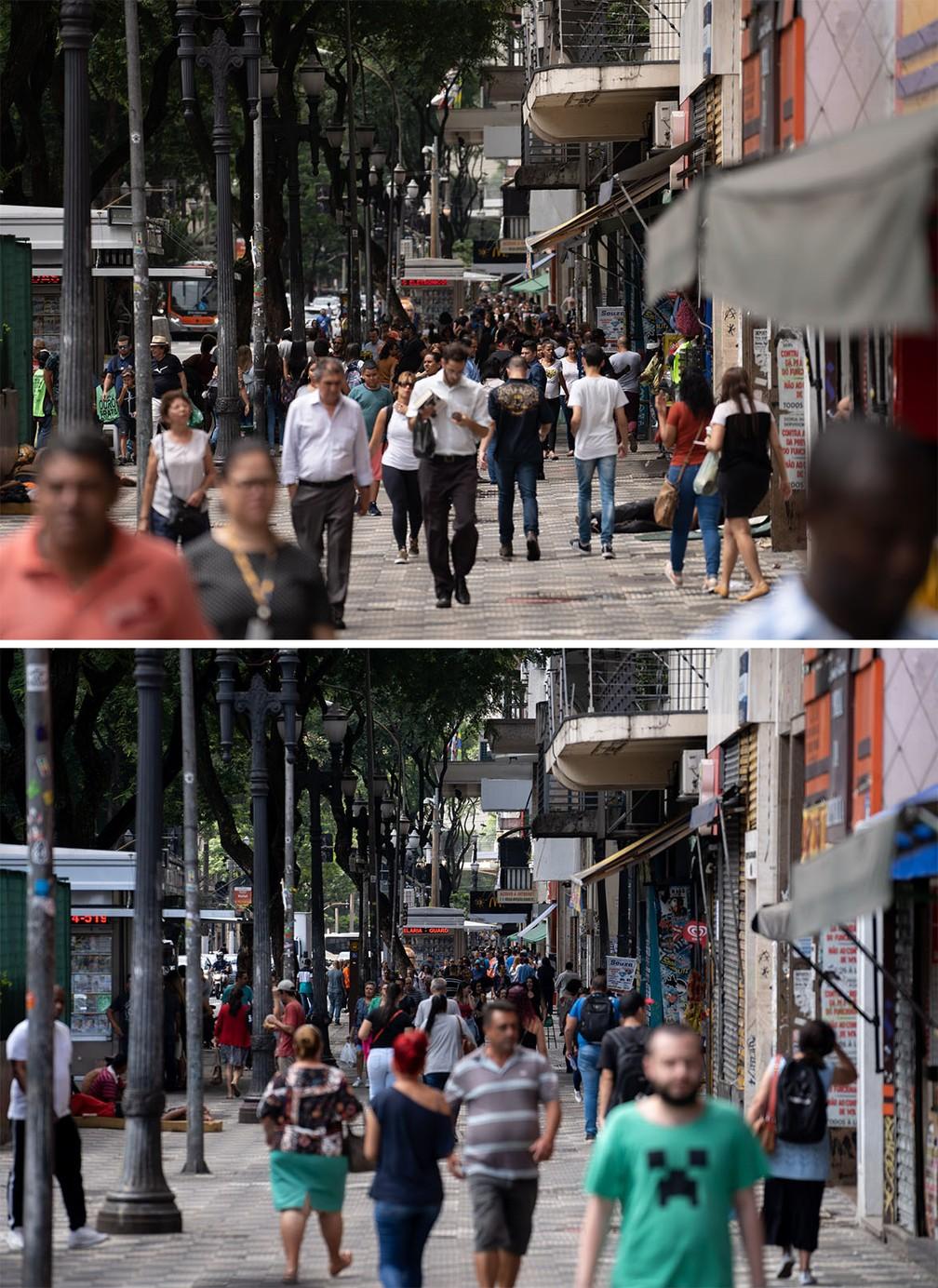 Região da Praça da República, na Zona Central de São Paulo, é vista com movimento similar tanto na quinta-feira (19) quanto nesta sexta (20), mesmo após o impacto das medidas de prevenção contra o coronavírus, que esvaziou diversos lugares da cidade — Foto: Marcelo Brandt/G1