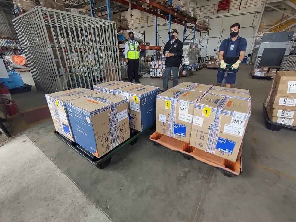 RN recebe lote com mais de 50 mil doses de vacina contra Covid — Foto: Divulgação/Paulo Nascimento