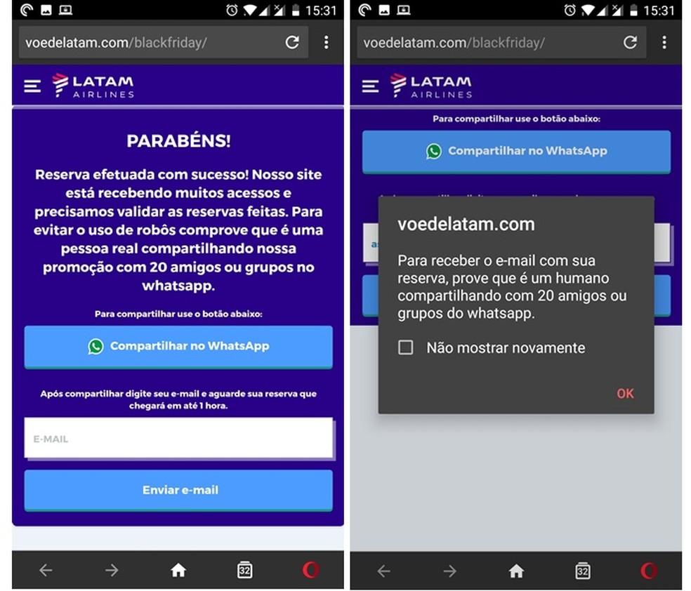Compartilhar a falsa promoção no WhatsApp para reservar o voo — Foto: Divulgação