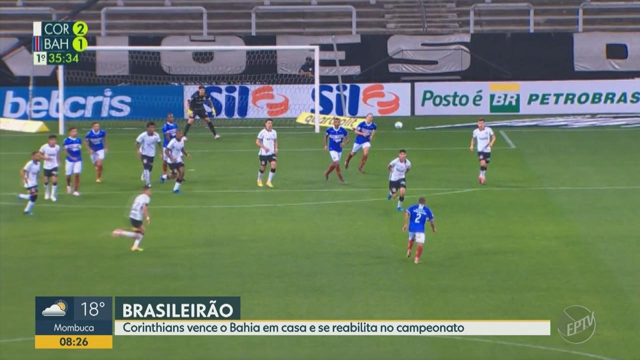 Corinthians vence o Bahia em casa e se reabilita no Brasileirão