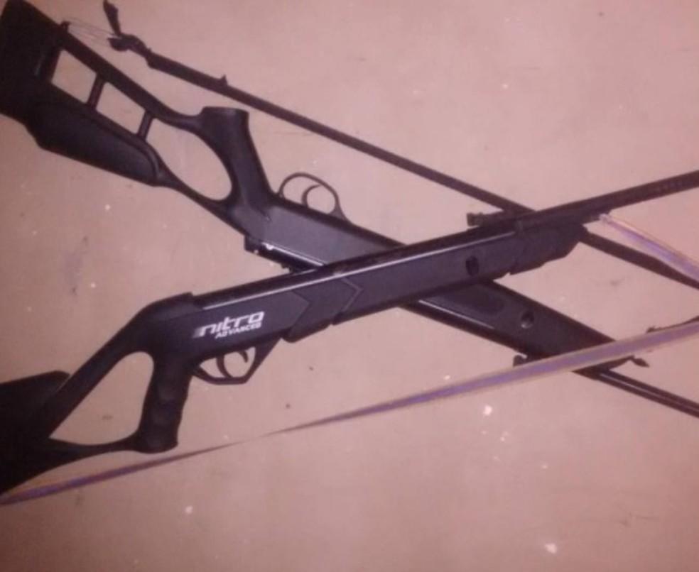 Duas armas artesanais foram encontradas com o agressor do cachorro Bethoven. — Foto: Divulgação