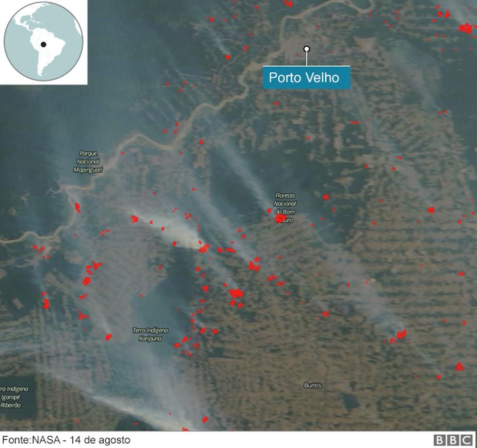 Imagem do sistema da Nasa da área perto de Porto Velho mostra as queimadas — Foto: BBC