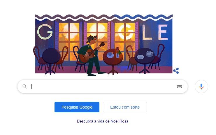 Homenagem ao 109º aniversário de Noel Rosa na página do Google