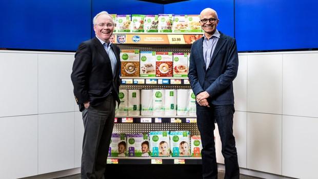 Rodney McMullen, CEO da Kroger, e Satya Nadella, CEO da Microsoft (Foto: Divulgação )