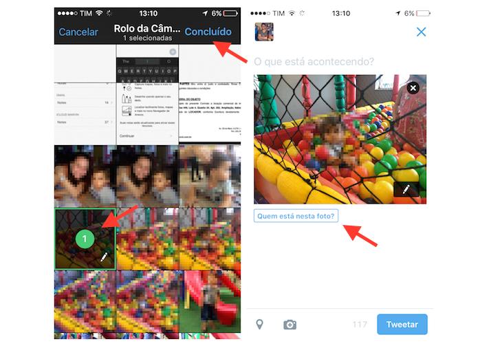 Carregando uma foto em um tuíte para marcar um amigo (Foto: Reprodução/Marvin Costa)