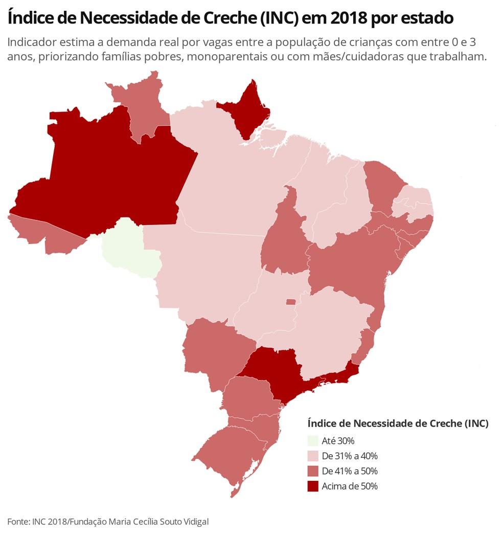 Mapa mostra o Índice de Necessidade de Creche (INC) em 2018 por estado; quanto mais vermelho, maior a porcentagem de crianças que precisam de vaga  — Foto: Ana Carolina Moreno/TV Globo