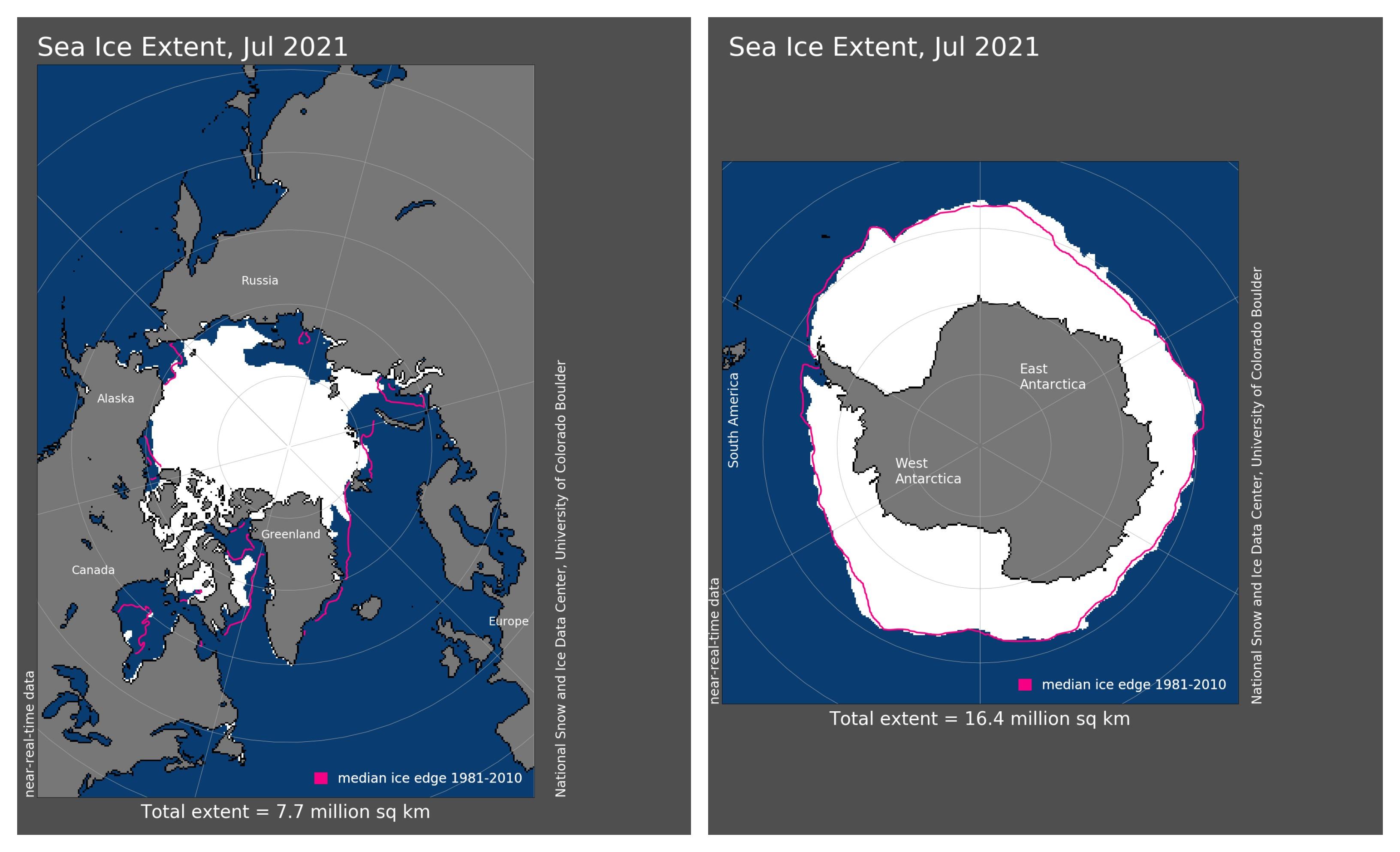 Julho de 2021 Mapas de extensão de gelo marinho do Ártico (à esquerda) e da Antártica (à direita) (Foto: NOAA)