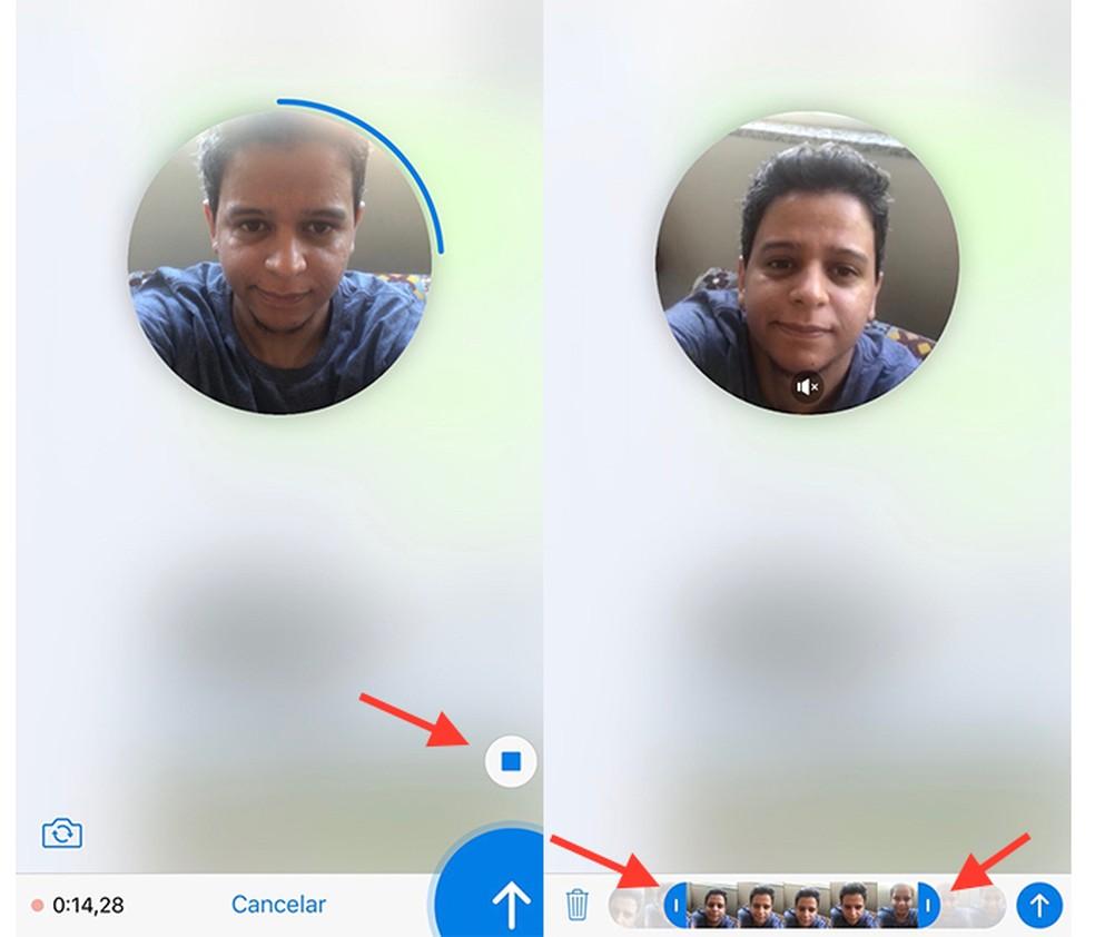 Opção para pré visualizar e editar um vídeo rápido criado no Telegram (Foto: Reprodução/Marvin Costa)