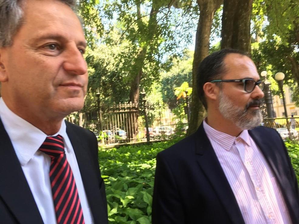 Landim e Abad estiveram no palácio do Governo na quinta-feira — Foto: GloboEsporte.com