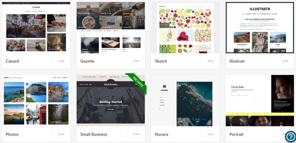 WordPress tem variedade de temas para personalizar o portfólio — Foto: Reprodução/Rodrigo Fernandes
