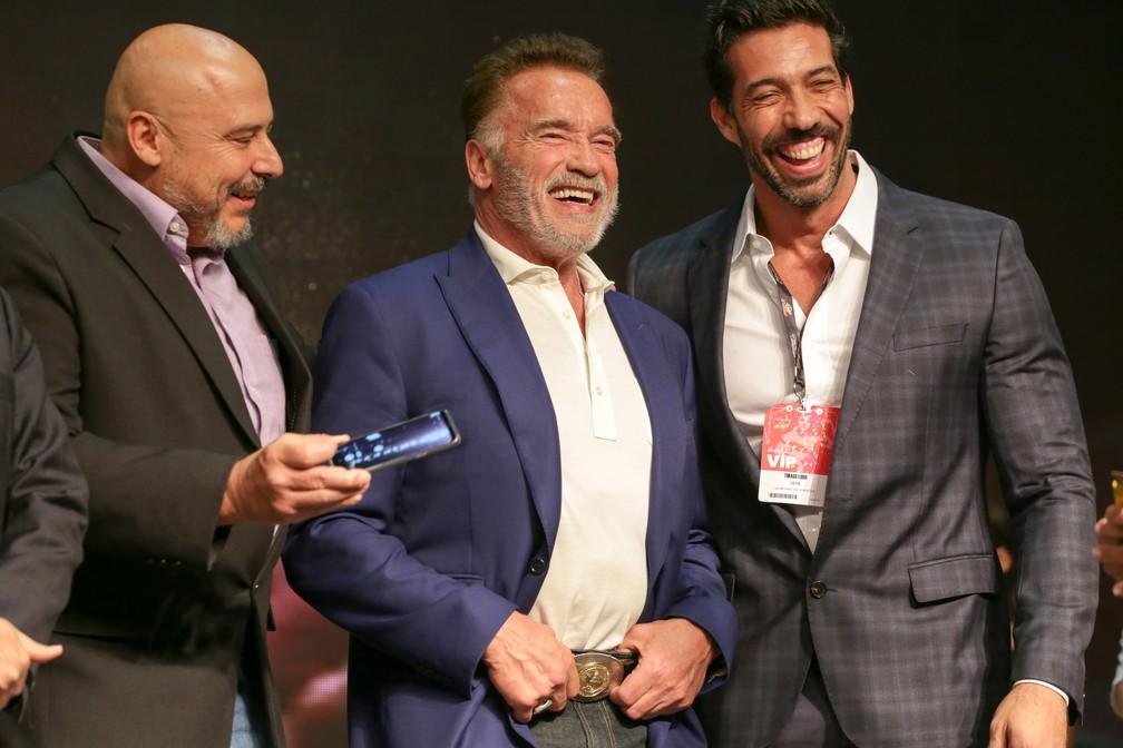 Arnold Schwarzenegger participa de evento de fisiculturismo em São Paulo  — Foto:  LECO VIANA/ESTADÃO CONTEÚDO